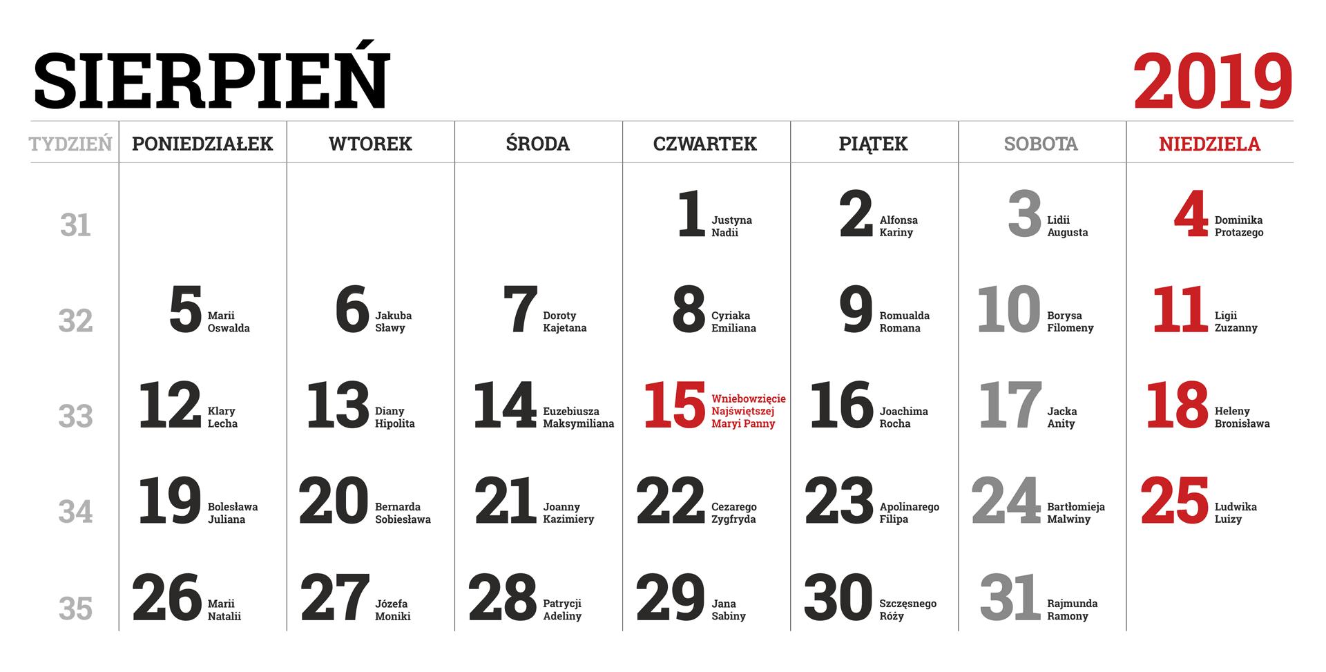 Kalendarium miesiąca sierpnia 2019 roku