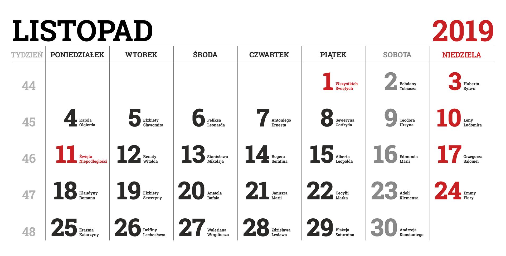 Kalendarium miesiąca listopada 2019 roku