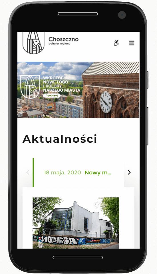 Stron Choszczno.pl na ekranie telefonu